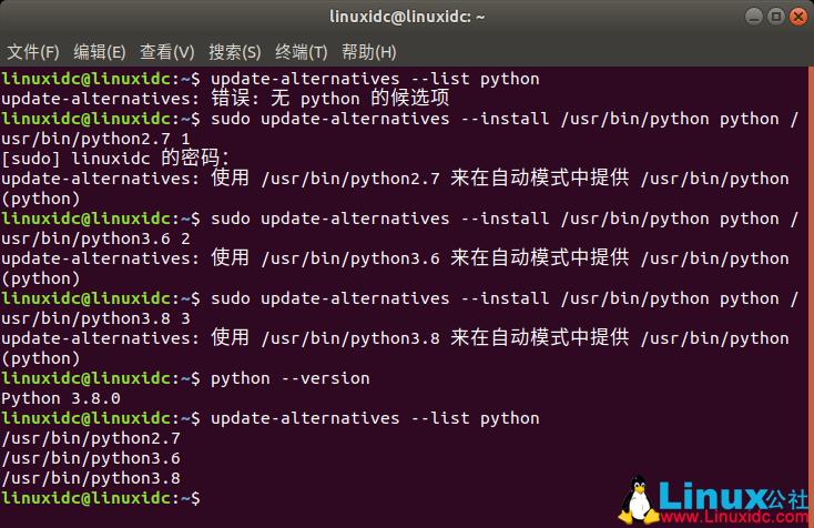 Ubuntu 18.04将Python3设置为Python默认版本