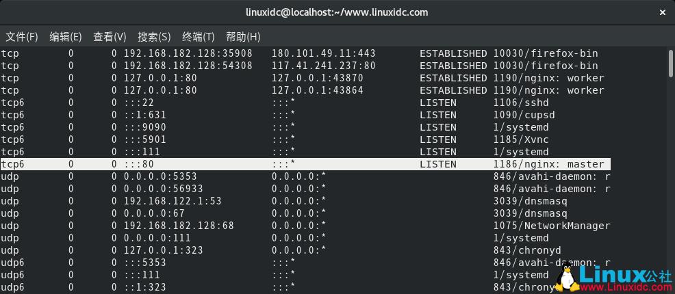 使用lsof命令查找在Linux中侦听指定端口的进程